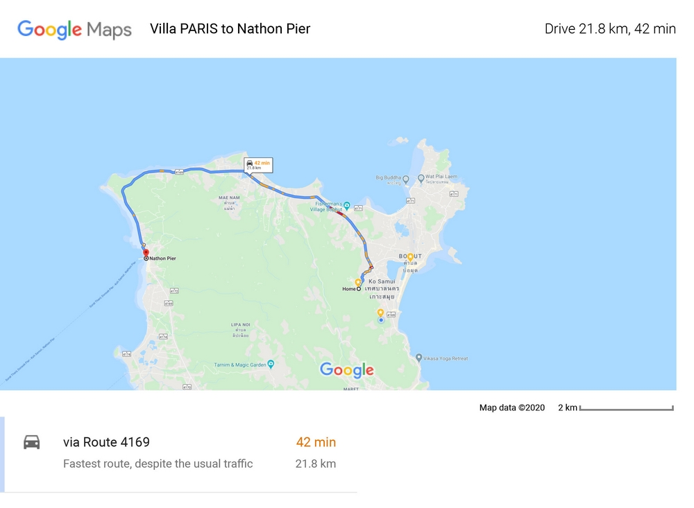 Route and distance 21,8 Km between Villa PARIS on Chaweng and the port of Nathon serving the link to the island of Koh Samui and the Contiment to the port of Surat Thani