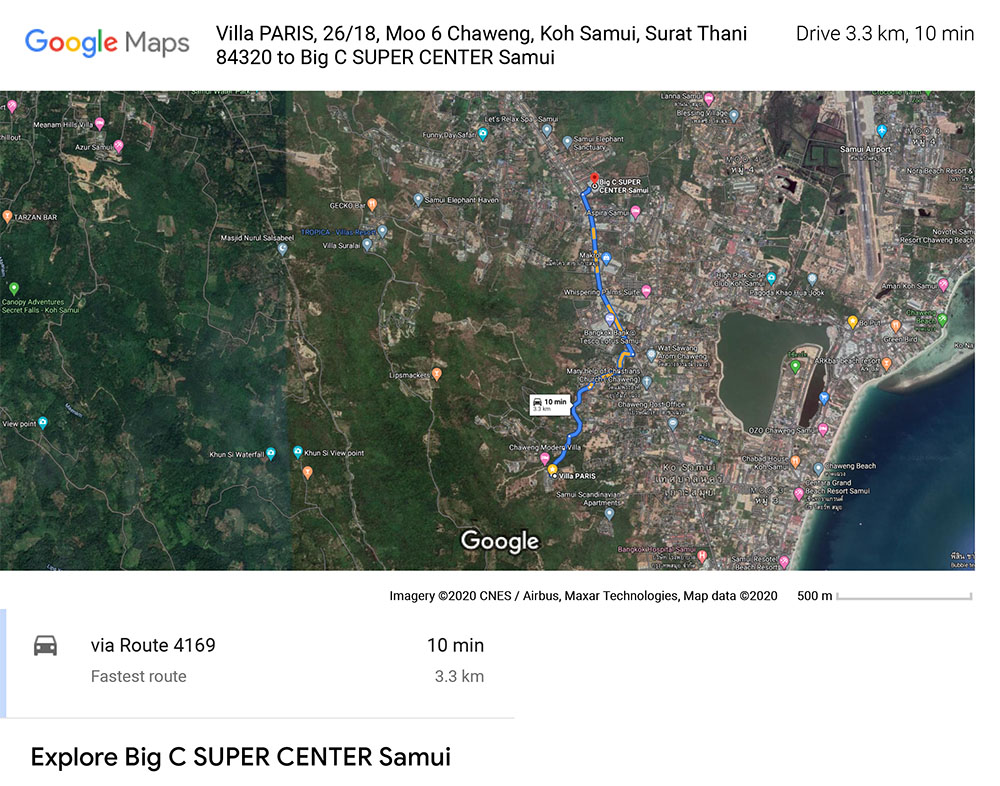 Course and distance of 3,3 Km between Big C super Market and Villa PARIS on Chaweng