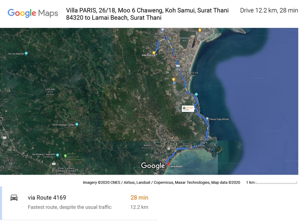 Route and distance of 12,2 Km between Lamaï beach and Villa PARIS on Chaweng