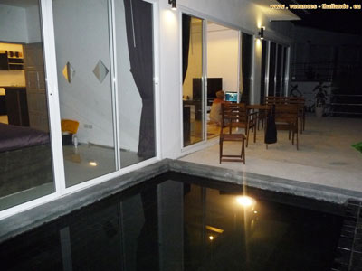 Photo 54 English pleasure of the terrace andthe pool at nightwith night lighting 400